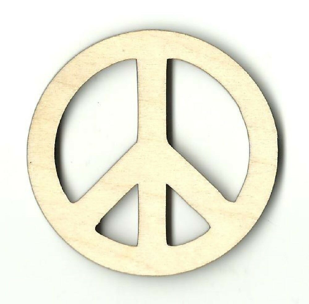 Peace sign unfinished wood shapes craft supply laser cut for Craft supplies wooden shapes