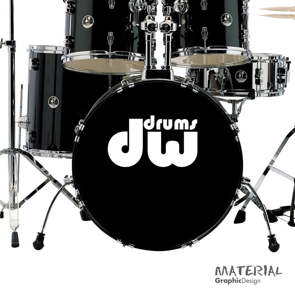 2x dw drums logo sticker decal fork bass drum head drums