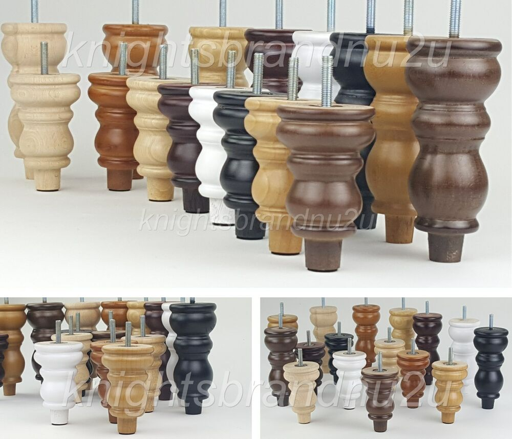 4x Solid Wood Replacement Furniture Legs Feet Sofa Chairs