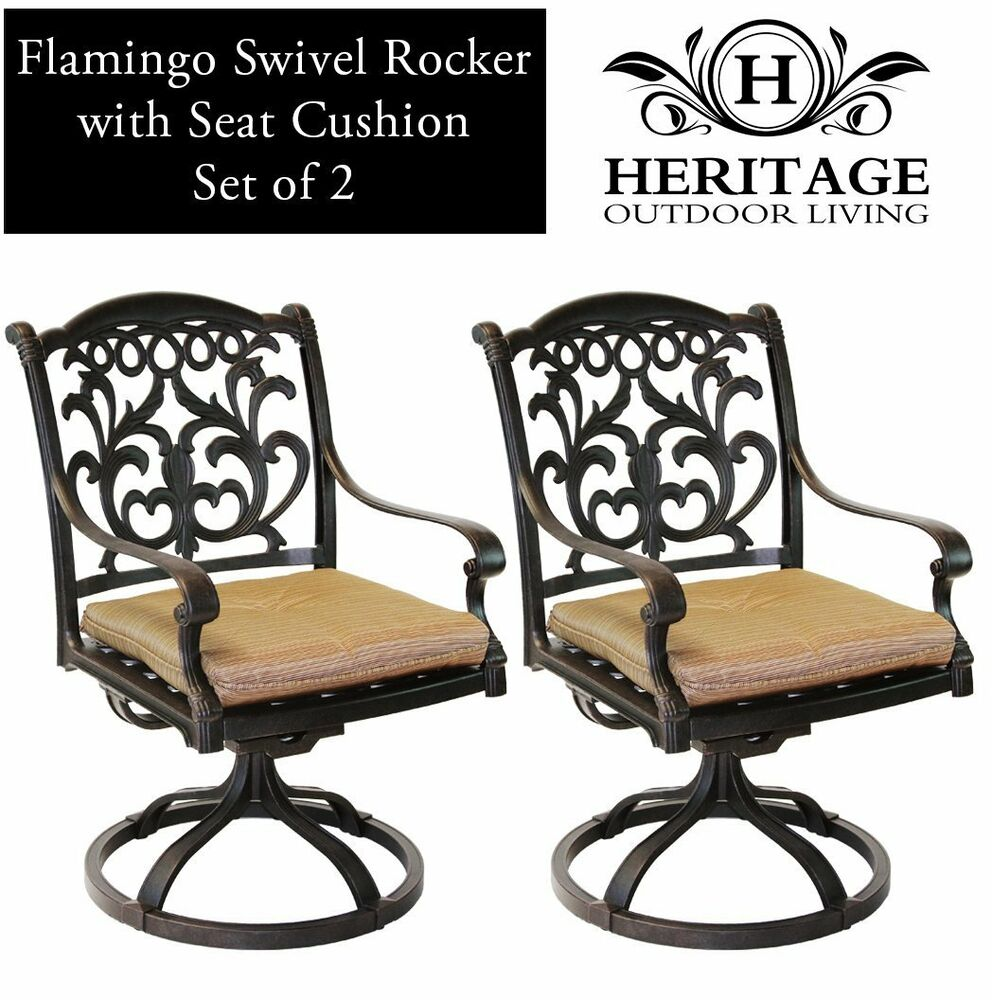 patio chairs outdoor cast aluminum swivel rocker flamingo antique bronze set 2 ebay. Black Bedroom Furniture Sets. Home Design Ideas