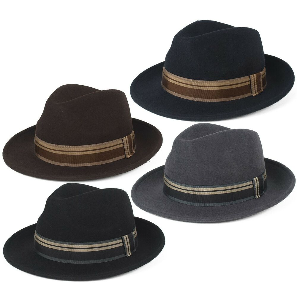 db919aa749047 Details about Stylish 100% Wool Fedora Hat Waterproof   Crushable