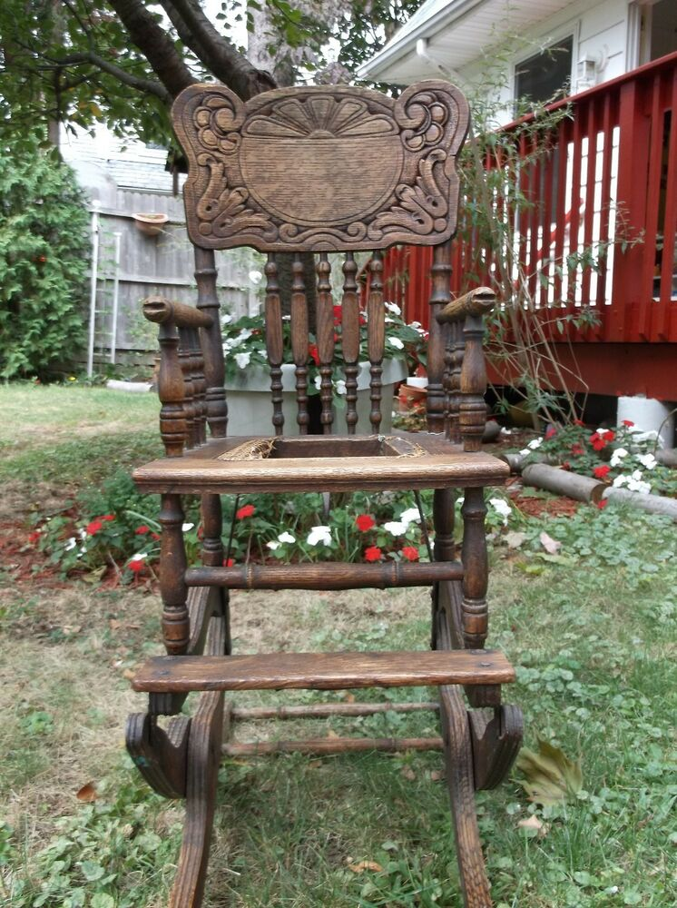 Antique Child Folding High Chair Ebay