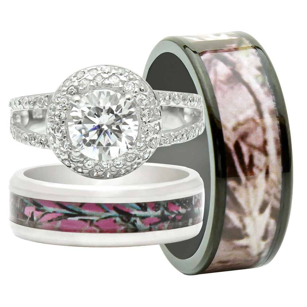 Realtree Wedding Rings: His And Hers 3PCS Titanium Camo 925 Sterling Silver