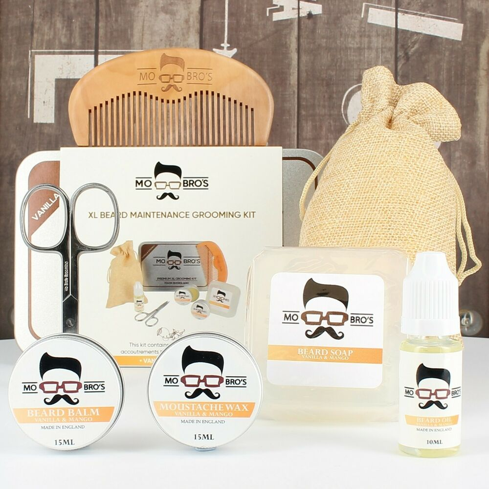 mo bro 39 s xl 8 piece grooming kit inc beard oil balm wax soap scissors comb ebay. Black Bedroom Furniture Sets. Home Design Ideas