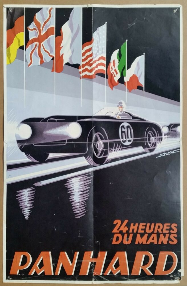 vintage 1959 panhard 24 heures du mans victory poster ebay. Black Bedroom Furniture Sets. Home Design Ideas
