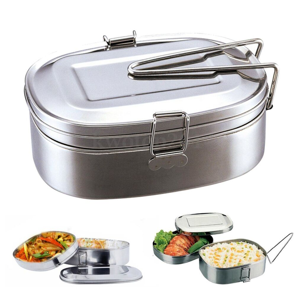 large stainless steel student oval case bento lunch box food container 2 layers ebay. Black Bedroom Furniture Sets. Home Design Ideas