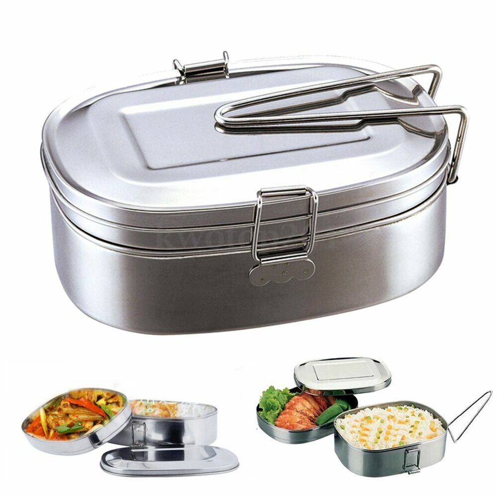 large stainless steel student oval case bento lunch box. Black Bedroom Furniture Sets. Home Design Ideas