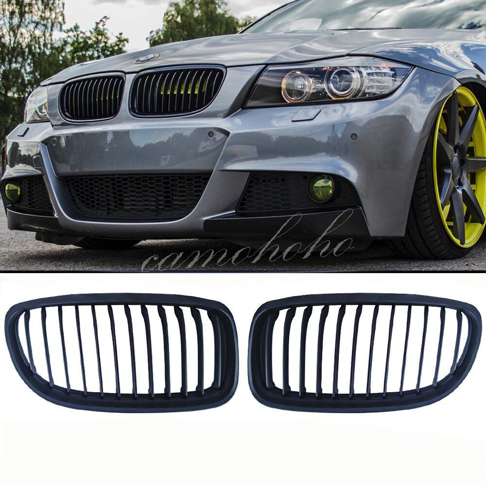 matte black front kidney grill grille for bmw e90 e91 lci. Black Bedroom Furniture Sets. Home Design Ideas