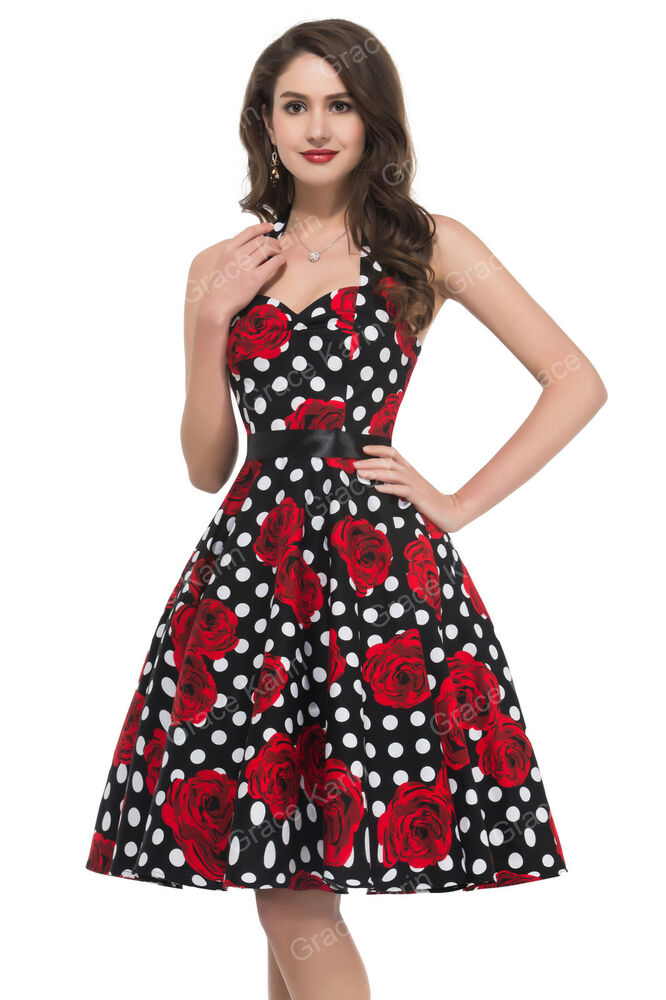 Womens Vintage 50s Retro Pinup Swing Plus Size Party ...