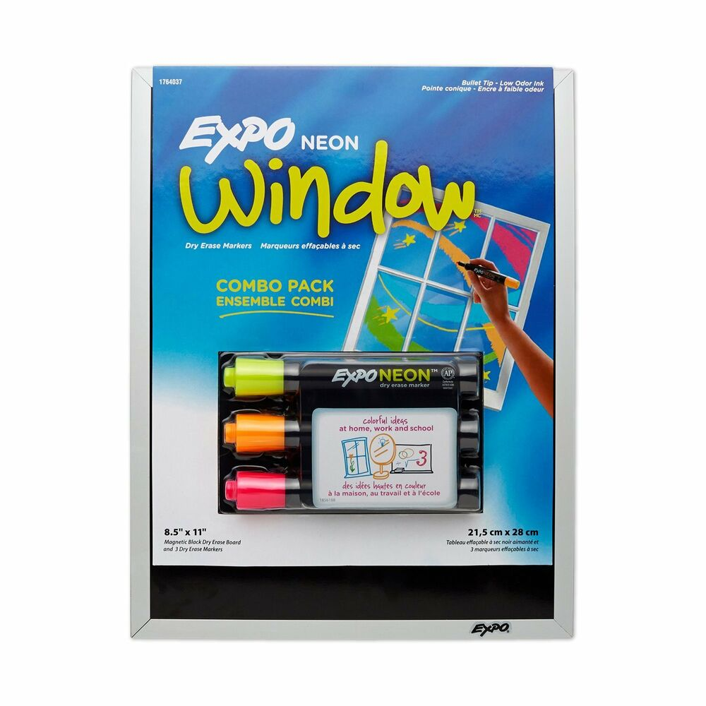 Neon Markers and Magnetic Dry Erase Black Board Combo Pack