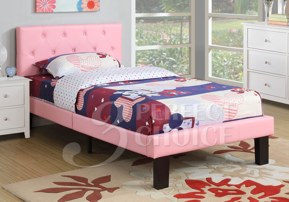 simple teen kids bedroom twin or full bed pink faux leather headboard tufted new ebay. Black Bedroom Furniture Sets. Home Design Ideas