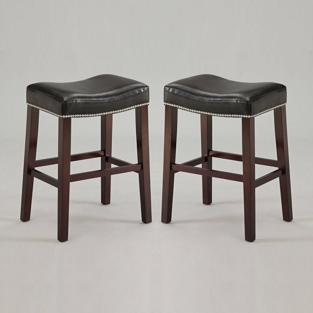 Set Of 2 Lewis Saddle 26 Quot H Counter Stool Chair Nailhead