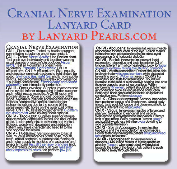 Cranial Nerve Examination Medical Nursing Lanyard