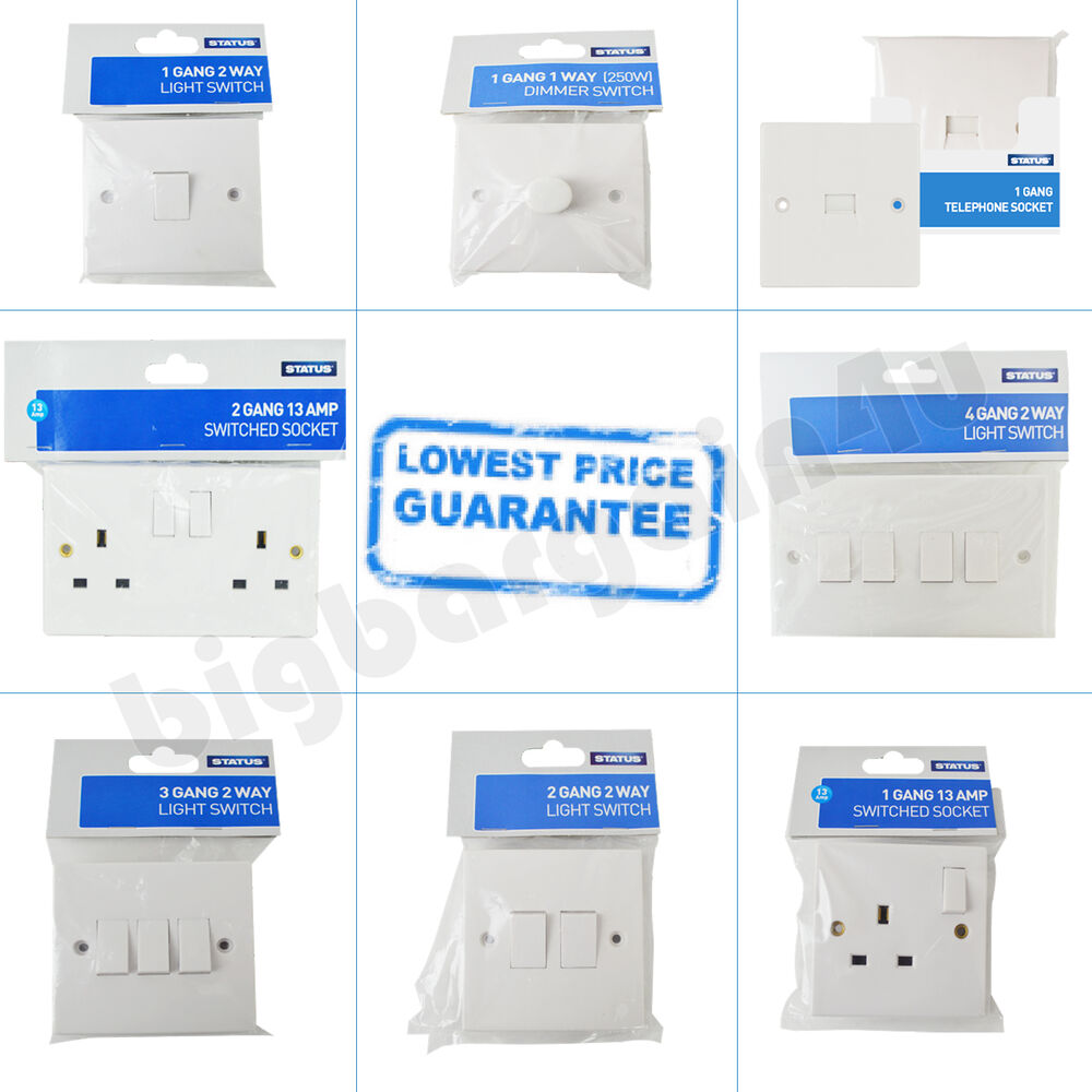 1 2 Way 3 4 Gang Light Switches Plug Telephone Sockets Dimmer Pole Switch White New Ebay