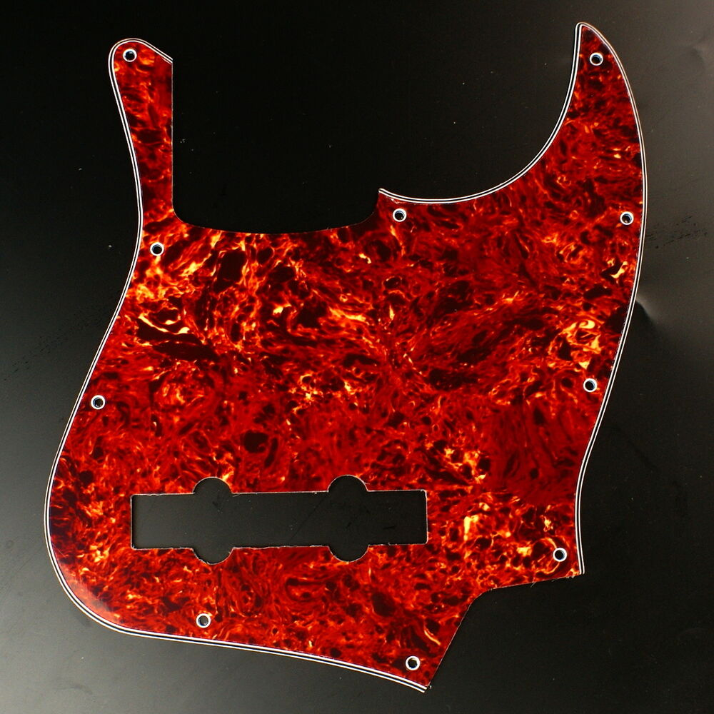 replacement guitar pickguard for jazz bass 5 string jb 4ply red tortoise ebay. Black Bedroom Furniture Sets. Home Design Ideas