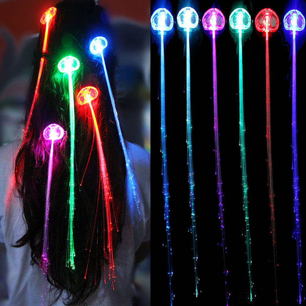 Light Up Hair Clips Extensions Led Costume Flashing Fiber