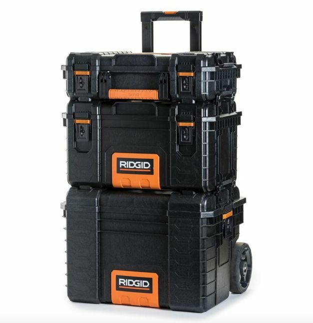 quality ridgid rolling wheel portable toolbox cart chest tool storage box 3 pc ebay. Black Bedroom Furniture Sets. Home Design Ideas