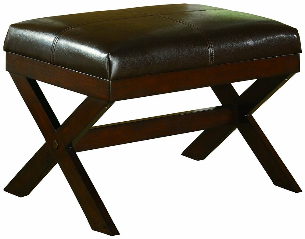 New Faux Leather Upholstery Modern Furniture Seat Espresso Vanity Bench Stool Ebay