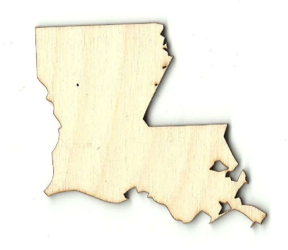 Louisiana state laser cut unfinished wood shape craft for Wooden craft supplies online