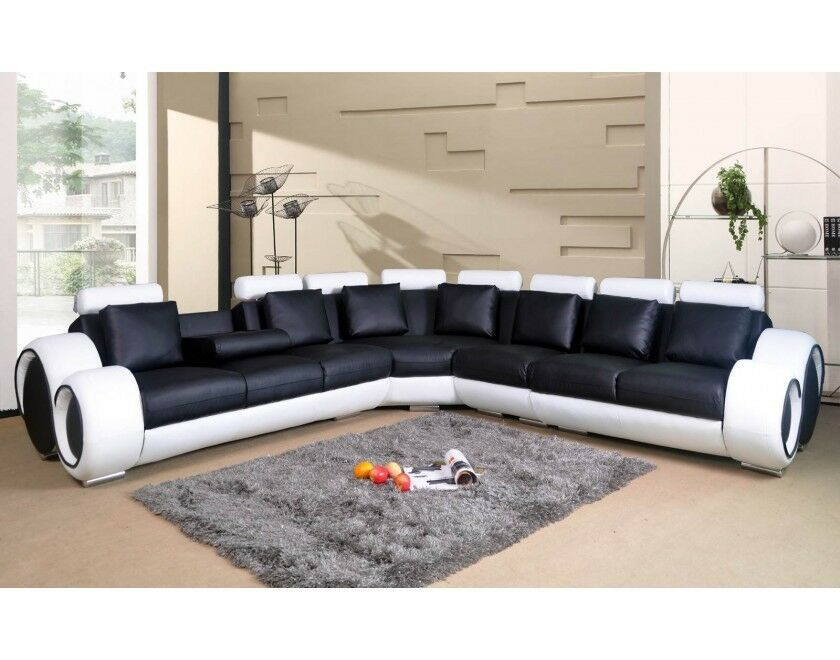 NOVA BLACK AND WHITE BONDED LEATHER CORNER SOFA 3 CORNER 3