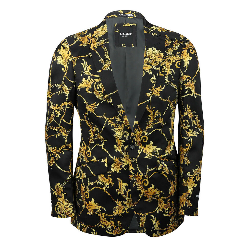 Mens Black Gold Floral Brocade Print Fitted Blazer Italian