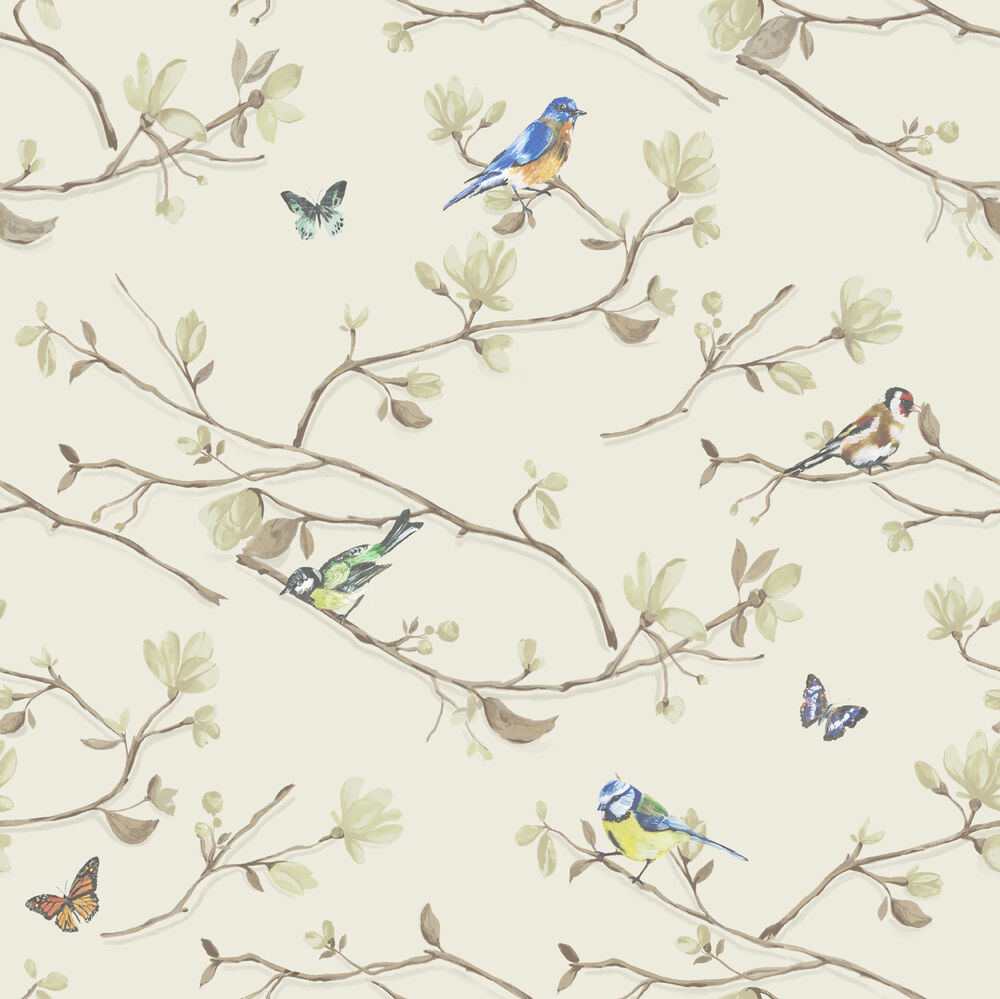 Wallpaper Designs With Birds : Neutral birds butterflies kira holden decor