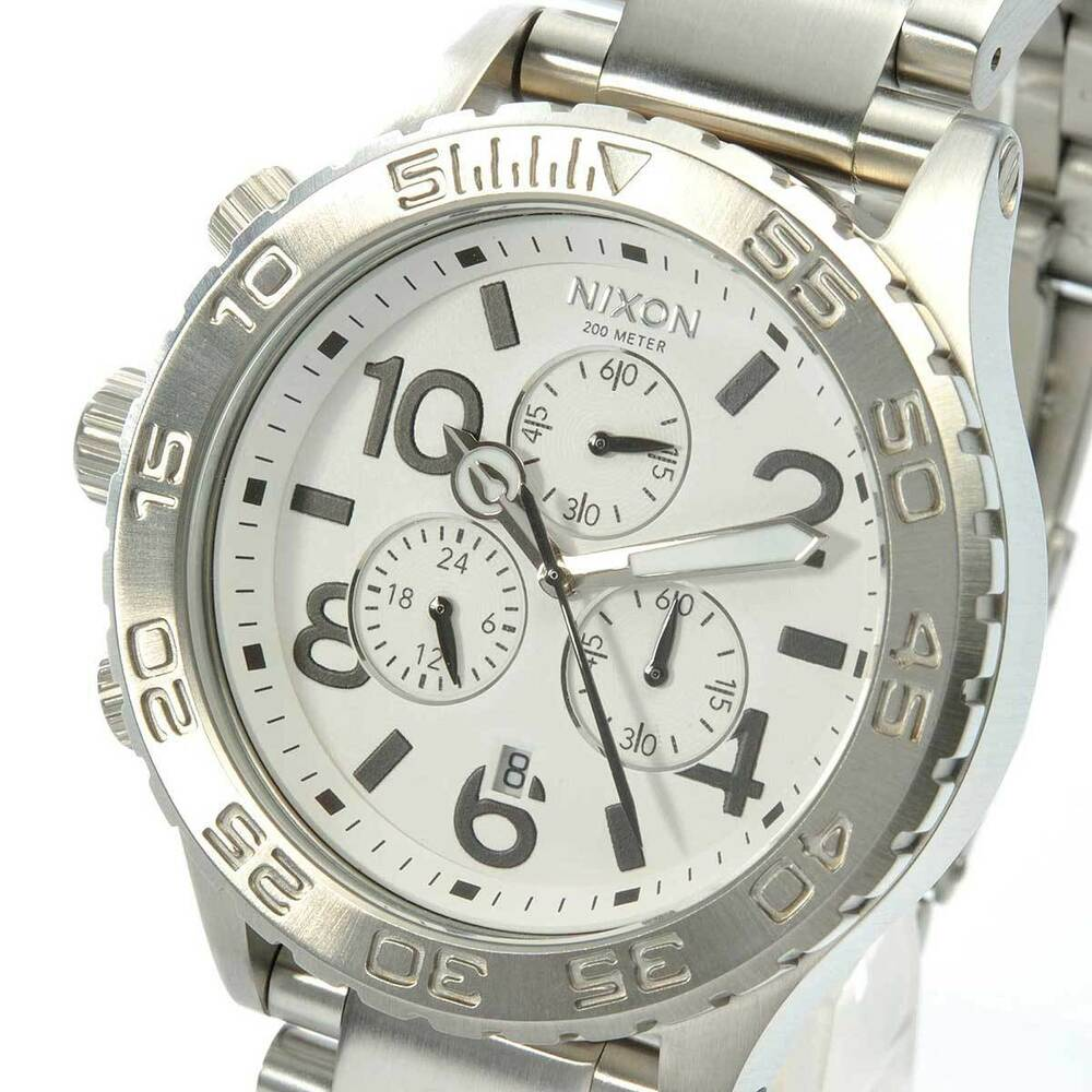 New NIXON Watch 42-20 CHRONO Silver White A037-100 A037100 ...