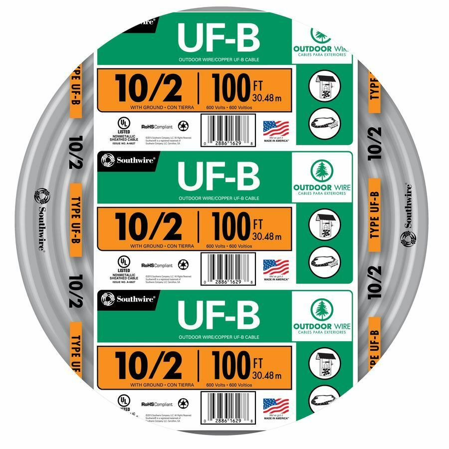 100\' Roll 10-2 AWG UFB Gauge Outdoor Electrical Feeder Copper-Wire ...