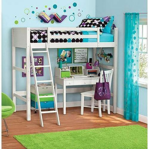 Twin Bunk Loft Bed Over Desk With Ladder Kids Teen Bedroom