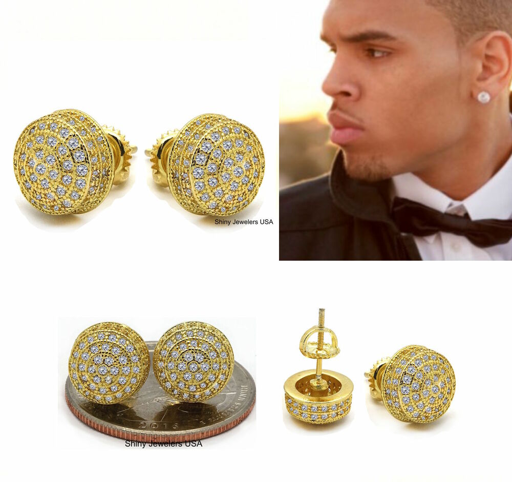 studded earrings for guys mens 18k yellow gold finish lab back hip hop 2639