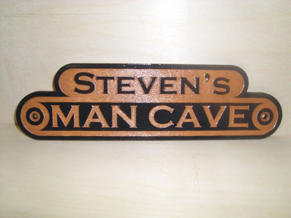 Personalized Man Cave Signs Free Shipping : Personalized man cave wooden outdoor sign laser engraved