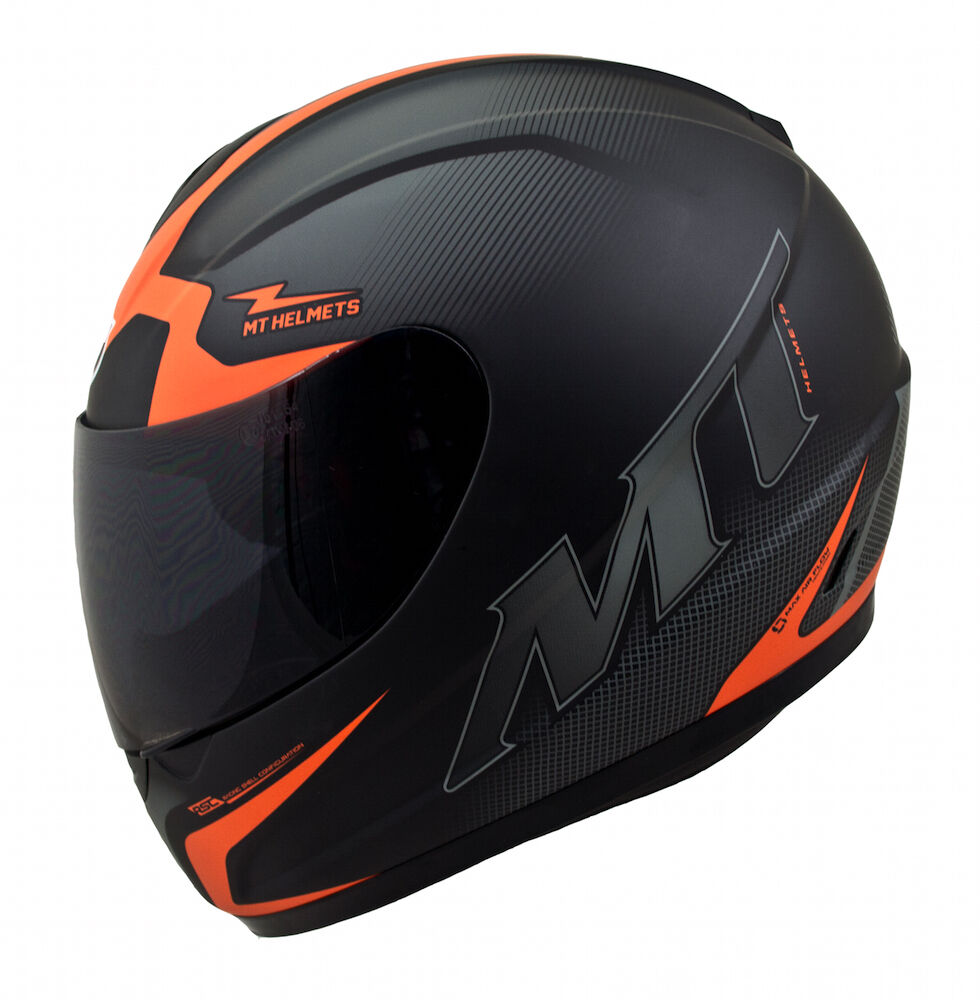 MT Thunder Squad Motorcycle Helmet Matt Black Orange ...