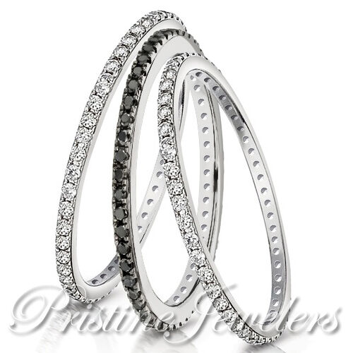 Eternity 925 Sterling Silver Stackable Wedding Ring Women