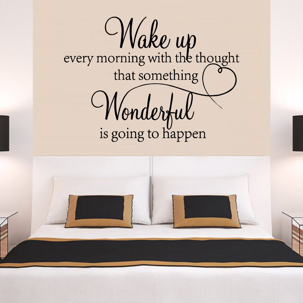 Wake up every morning dream quote wall stickers art room for Bedroom vinyl quotes