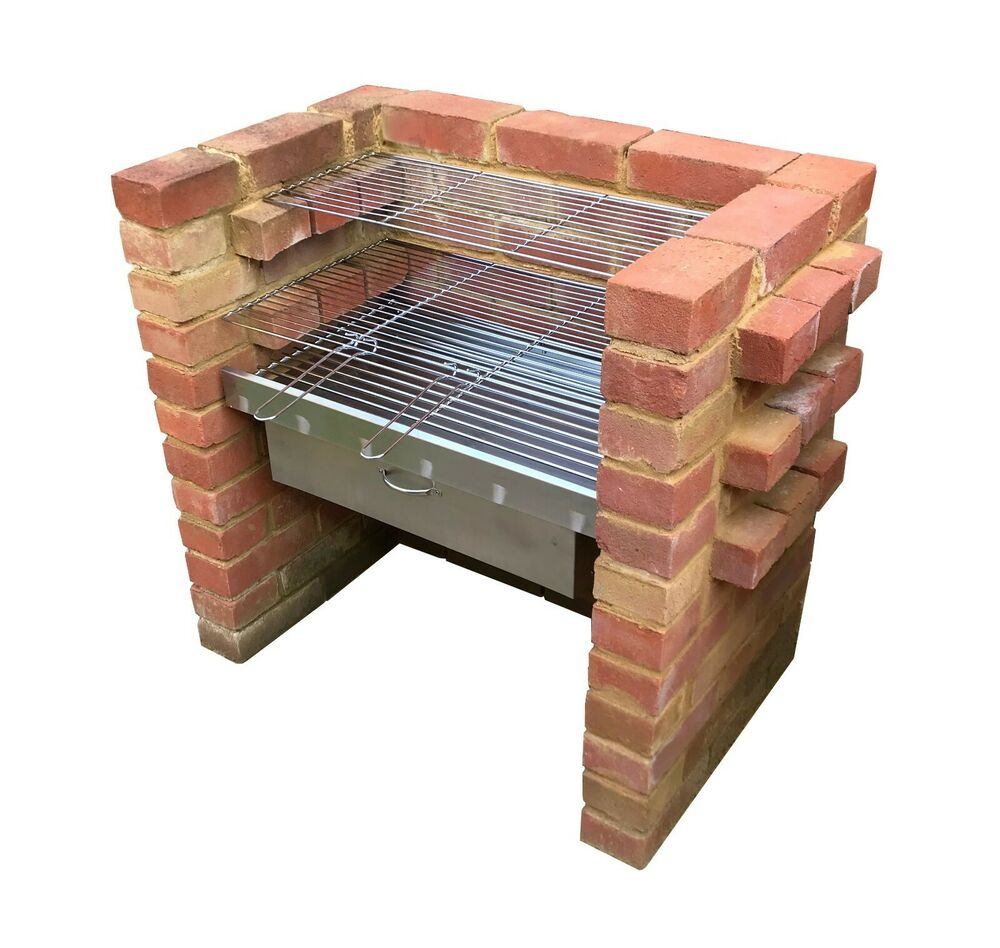 heavy duty diy brick charcoal bbq oven cupboard stainless steel grill ebay. Black Bedroom Furniture Sets. Home Design Ideas
