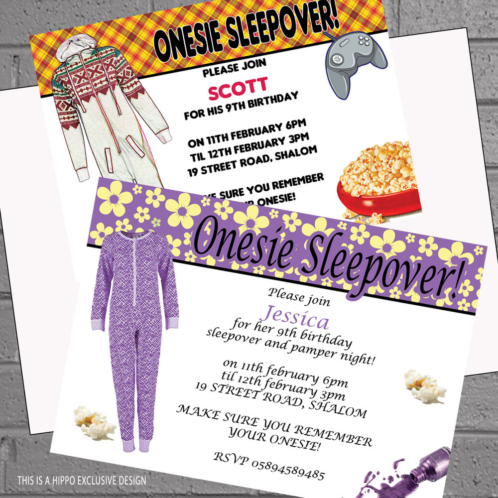 sleepover birthday party invitations