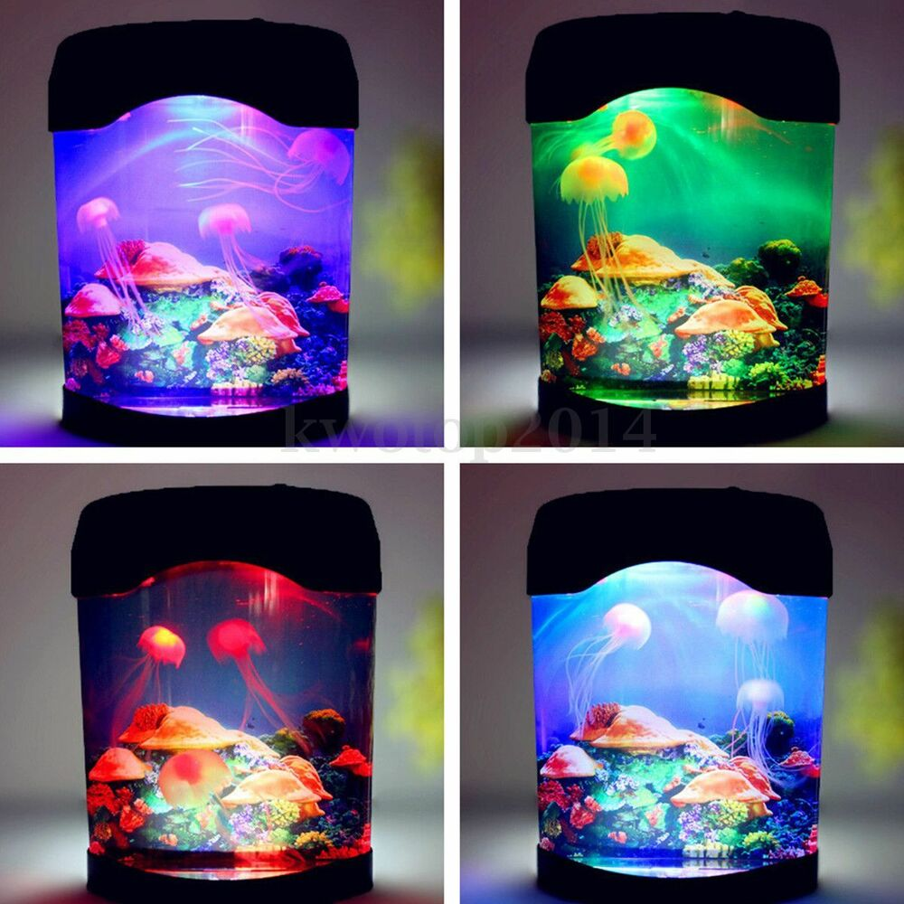 Jellyfish jelly fish tank sea water lamp bedroom mood for Bedroom night light