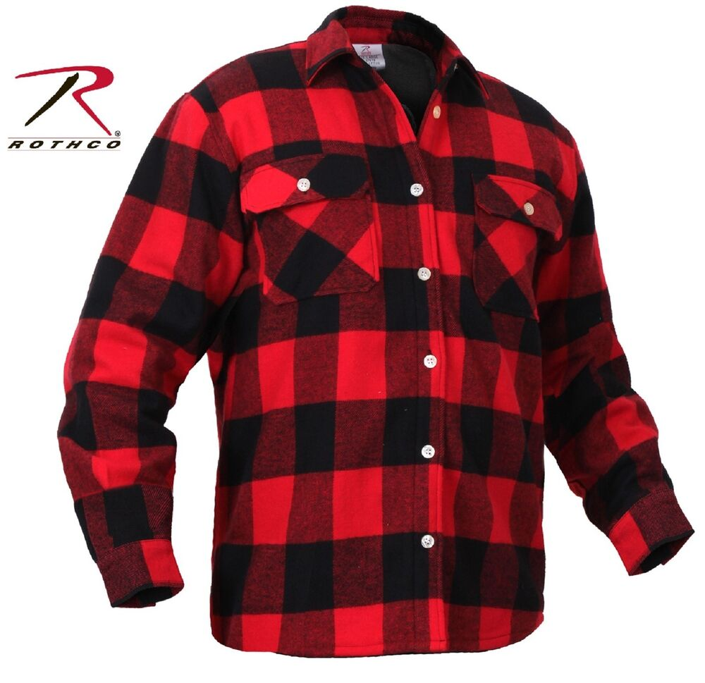 Mens fleece lined plaid flannel shirt rothco red black for Red and white plaid shirt mens