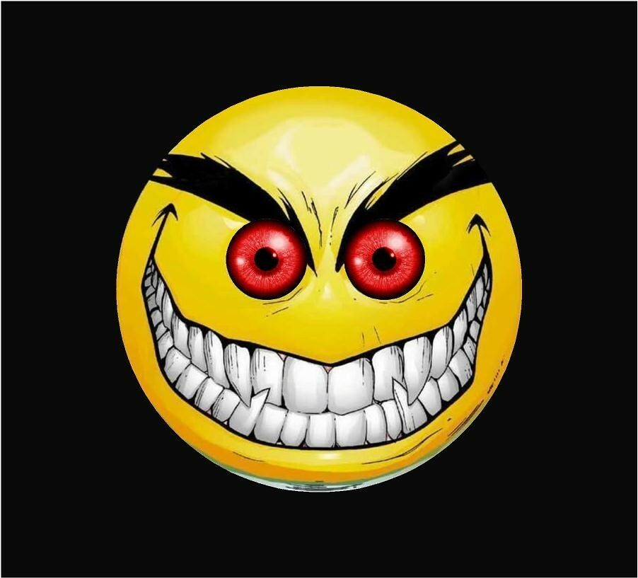 Evil Smiley Red Eyes Graphic Window Decal Sticker Decals