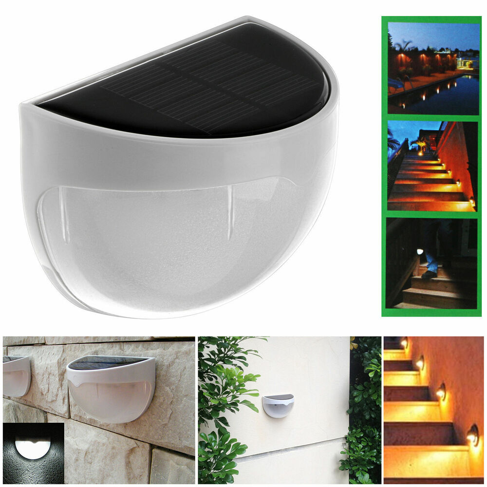 Led Wall Lights Outdoor: Outdoor Solar Power LED Wall Light 6 LED Stair Landscape