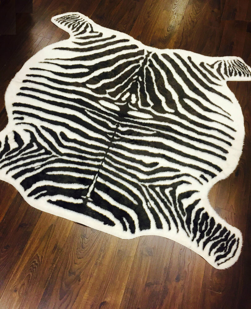Zebra Hide Rug Carpet Faux Fur Off White Brown
