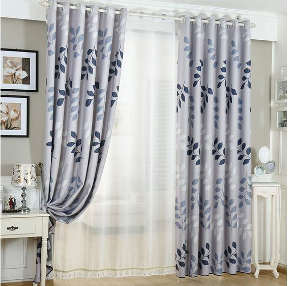 2 X Blockout Eyelet Curtains Country Style Leaves Light