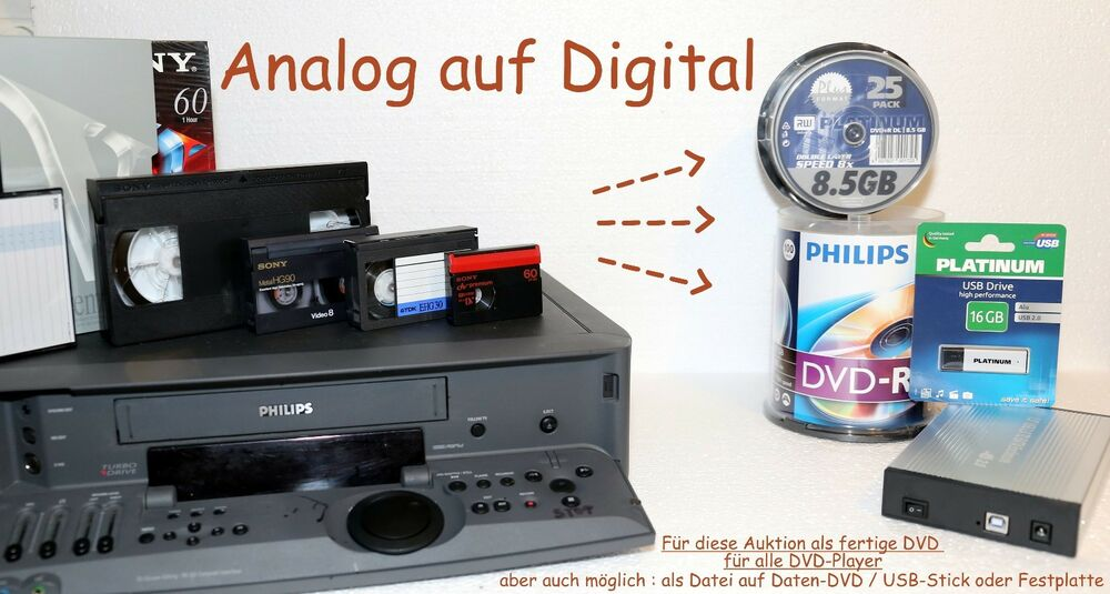 1 video8 digital8 hi8 minidv vhs digitalisieren berspielen auf dvd ebay. Black Bedroom Furniture Sets. Home Design Ideas