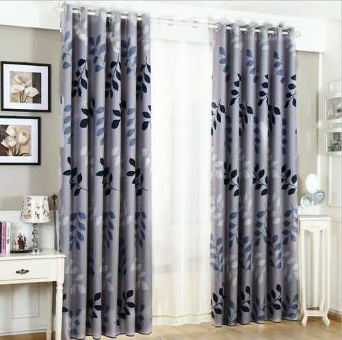 Eyelet Bedroom Curtains Blockout Eyelet Curtains Country Style Leaves Bedroom Study Lounge