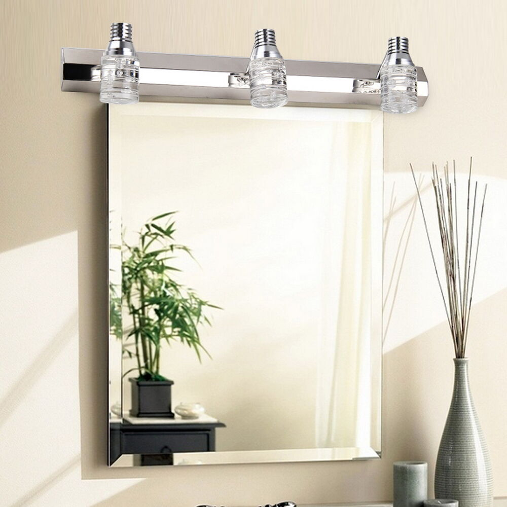 3 Light Wall Sconce Crystal Bathroom Mirror Light Fixture Chrome Chandelier Lamp Ebay
