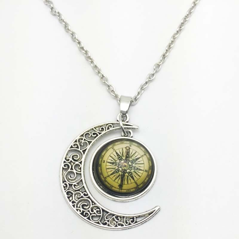 Vintage compass Cabochon Silver plated chain necklace ...