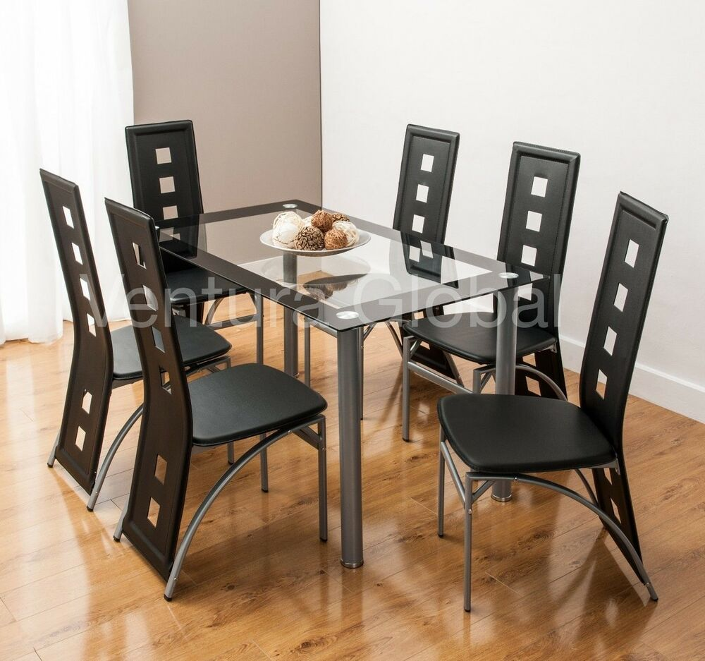 Glass dining room table set and 4 or 6 faux leather chairs for Six chair dining table set