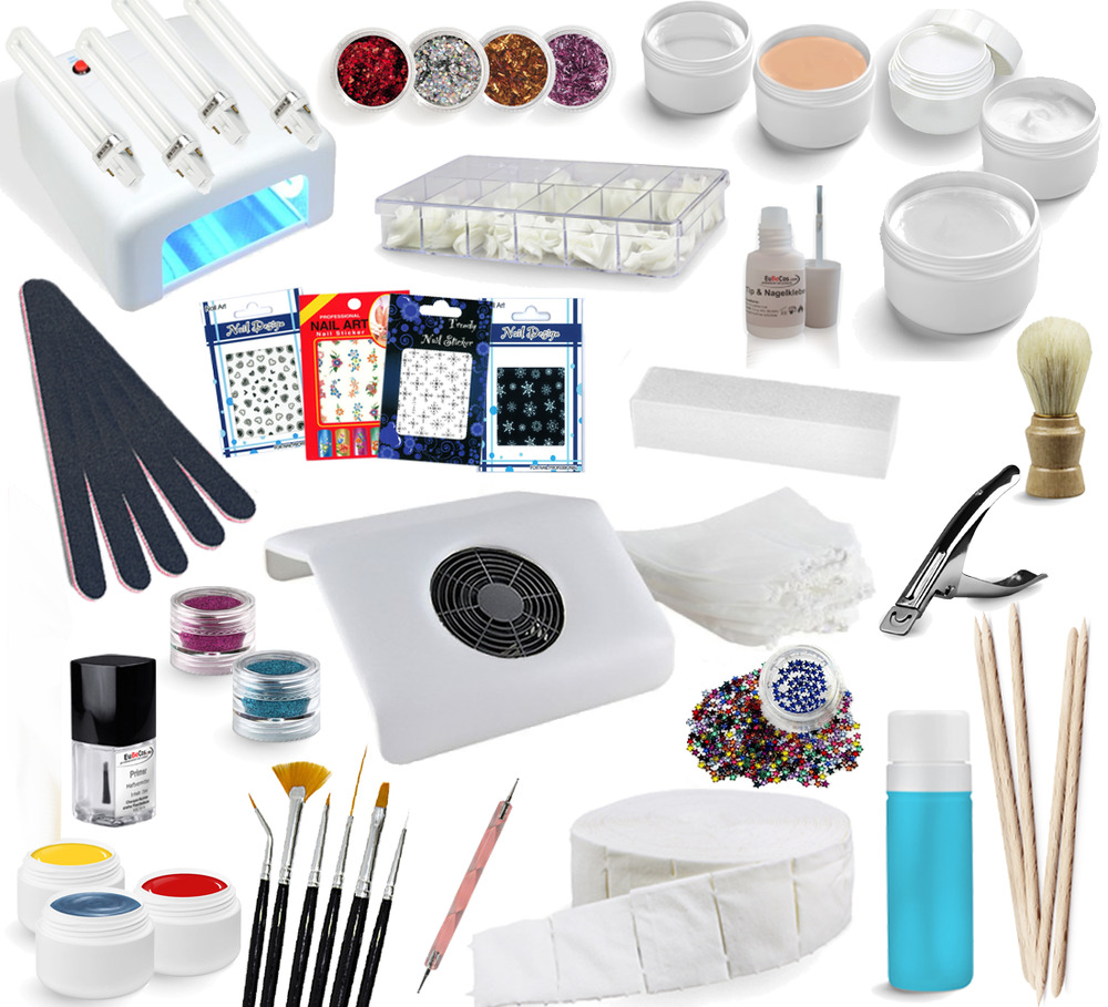 riesen nagelstudio starter set uv gele staubabsaugung farbgele nailart 720 ebay. Black Bedroom Furniture Sets. Home Design Ideas