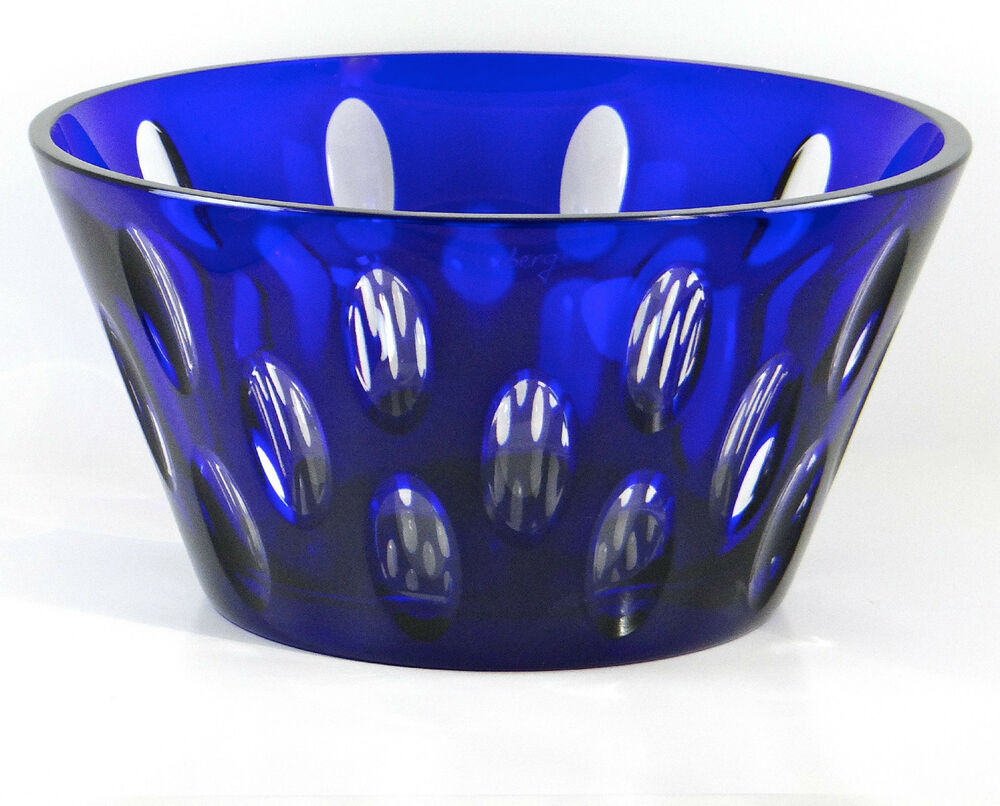 Faberge bubbles centerpiece bowl cobalt blue cased