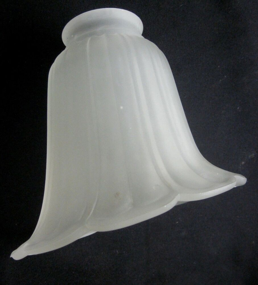 Vintage Angled Slanted Satin Etched Glass Ribbed Scalloped